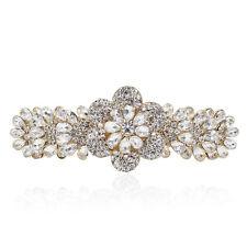Clear Crystal Rhinestone Plum Flower Gold Tone Barrette Hair Clip Bridal Gift