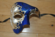 MENS Venetian blue/silver/gold Phantom/Half face Mask.Masquerade /Ball /Prom.