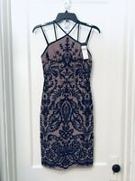 BCBG MAX AZRIA EMBROIDERED HALTER SHEATH DRESS NWT SIZE 0 $338.00