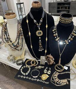 Bronze Brass Look Antique Gold Tone Lot Rhinestone Bracelets Statement Necklaces