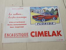 ancien buvard publicitaire encaustique CIMELAK voiture floride