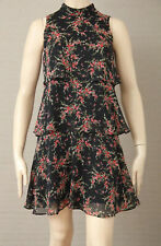 CUE Size 8 Floral Georgette Tiered High-Neck Shift DRESS Back Zip