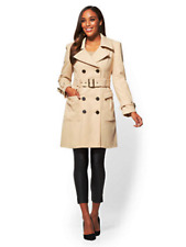 NEW YORK & COMPANY $159 ANTIQUE BEIGE WOOL BLEND TRENCH COAT SZ S SMALL