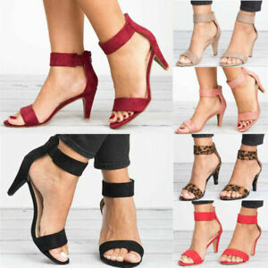 Womens Ankle Strap Sandals Shoes Ladies Summer Kitten Mid Low Heel Shoes Size UK