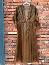 Antique Edwardian Victorian Brown Silk Net Striped Dress AS IS