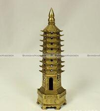 Feng Shui Brass Wen Chang Nine Level Pagoda China