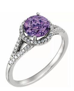 Natural Amethyst Gemstone & 1/5 ct tw Genuine Diamonds Ring 14K Solid White Gold