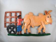 Primitive Painted Tin Wall Decor w Ox Cart Boy Roland Cajuste Haitian Folk Art