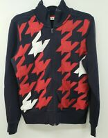 Tommy Hilfiger Jacket Large EUC Large Hounds Tooth Pattern Red White Blue