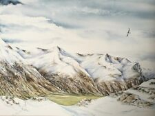 Scottish Highlands Mountains, Glencoe in Snow with Eagle & Hare, painting/print