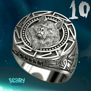 New Wolf Head Nordic Tribal Mythology Viking Celtic Silver Mens Ring