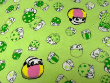 kawaii cute tare panda brushed cotton green fabric fat quarter