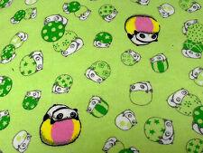 KAWAII cute PANDA Tara Verde Cotone Spazzolato Tessuto Fat Quarter