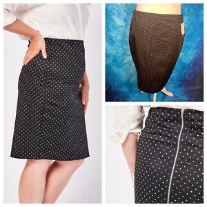 Ladies Black Skirt Size 20 Spotty Back Zip Smart Casual Work NEW NWOT 🌹