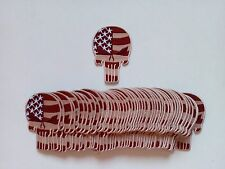 50 Punisher / USA Flag (Tan) Embroidered Patches  Height:3.5""