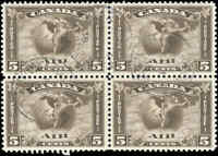 1930 Used Canada 5c Block of 4 VF Scott #C2 Air Mail Stamps