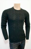 JOHN VARVATOS Charcoal Soft Wool Cable Knit Crew Neck Jumper Sweater RRP:£225.00