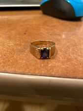 10k Yellow Gold Synthetic Sapphire and Diamonds Ring,   Lot 5
