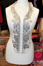silver sequin bridal wedding embroidery lace applique motif abaya kameeze asian