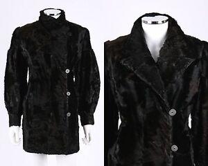VTG 1940s OOAK BLACK GENUINE PONY HAIR AVANT GARDE BISHOP SLEEVE FUR COAT