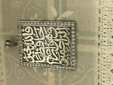 Huge Allah Islamic Muslim Quran 925 Sterling Silver Man Woman Pendant Charm