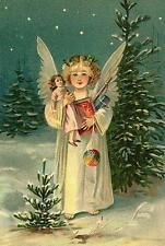 CHRISTMAS, ANGEL HOLDING TOYS, VINTAGE PIC, MAGNET