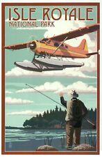 Isle Royale National Park Michigan, Float Plane & Fisherman MI - Modern Postcard