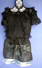 Tunika Mini Kleid Long Shirt Bluse XS 34 36 NEU schwarz Tüll Volant Party transp