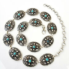 Navajo Inspired Antique Silver & Turquoise Concho Belt S/M/L- MADE IN ITALY