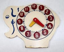 Vintage c.1950's Wooden Elephant Teaching Clock w/ Removable Numbers