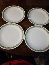 "FOUR Corelle Crazy Daisy Spring Blossom Green Flowers Dinner Plates, 10.25"""