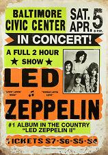 vintage retro style Led Zeppelin image metal sign wall door plaque