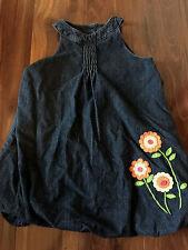 girls CRAZY 8 DENIM JEAN JUMPER DRESS bubble skirt NEON FLOWERS full CUTE size 5