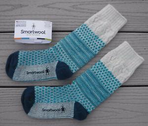 "NWT SMARTWOOL Merino Wool ""Popcorn Cable"" Medium Cushion Womens Crew Socks-M $25"