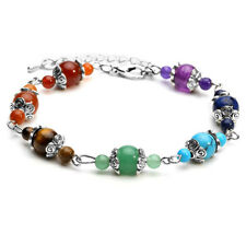 7 Chakra Natural Gemstone Round Beads Alloy Spacer Adjustable Bracelet Jewelry
