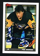 Phil Bourque #33 signed autograph auto 1991-92 Topps Hockey Trading Card