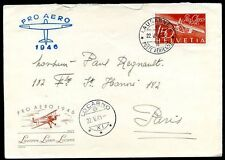 SWITZERLAND PROAEREO Flight LAUSANNE TO LOCORNO Cover 1946 VF