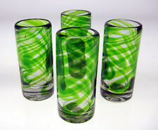 Mexican Shot Glasses, Green Swirl  (4) hand blown for tequila