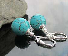 Handmade Round Turquoise Beads and Silver Beads 925 SILVER EARRINGS