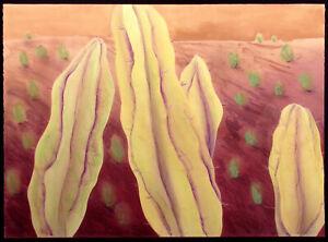 "Nancy Denison ""Yellow Cacti"" Hand Colored Signed Serigraph Fine Art Original OBO"