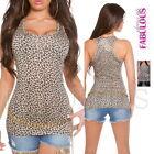 New Hot Sexy European Women's Top Size 10 6 8 Leopard Print Singlet Tube XS S M