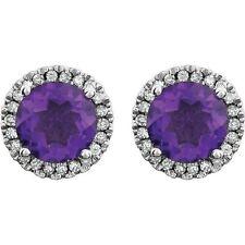 Genuine Amethyst and Diamond Earrings in 14kt White Gold, Feburary Birthstone