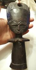 African Fertility God Figure Carved Wood Statue Fine Native Folk Art 9 1/2""