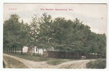 1909 Postcard The Maples and Dirt Road and House in Ogdensburg, Wisconsin