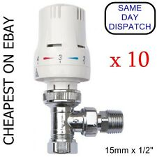 """10 x THERMOSTATIC RADIATOR VALVES 15mm/ 10mm x 1/2"""" with REDUCING KIT"""