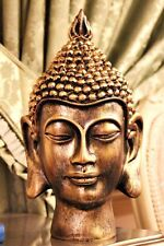 Ornamento de Cabeza de Buda de bronce 30cm Grande Estatuilla Escultura Marrón Busto asiático