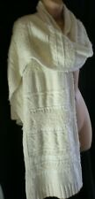 UNWORN WAREHOUSE Gorgeous Cream Cotton Blend Fancy Knit XXL Scarf / Wrap / Shawl