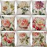 "18"" Printed flower Cotton Linen Pillow Cases sofa Cushion Cover Waist Home Decor"