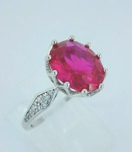 Beautiful Sterling Silver & 3.00ct Ruby Solitaire Engagement Ring UK O