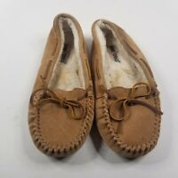 Minnetonka Leather Moccasins Women's Slippers Sz 10 Shoes Tan Fur Lined Brown